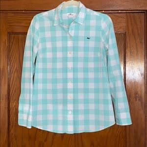 Vineyard Vines Light Blue and White Button Up Sz 4
